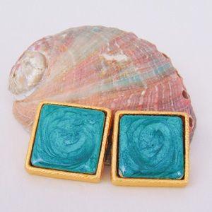 Vintage Green Mermaid Tile Rokoff Clip Earrings